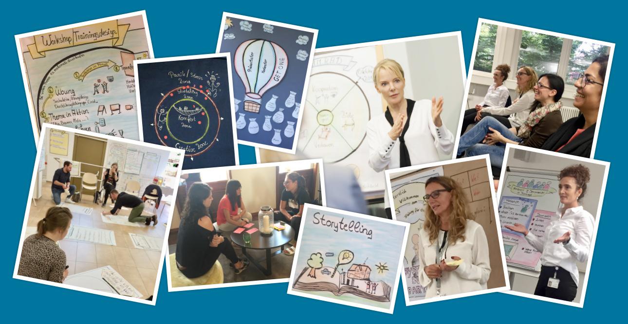 Collage, Claudia Thonet, Train the Trainer Inhouse, Kommunikationstrainer (Businesstrainer, Fachtrainer), Teilnehmer und Teilnehmerinnen, Arbeitsgruppen, Vortrag