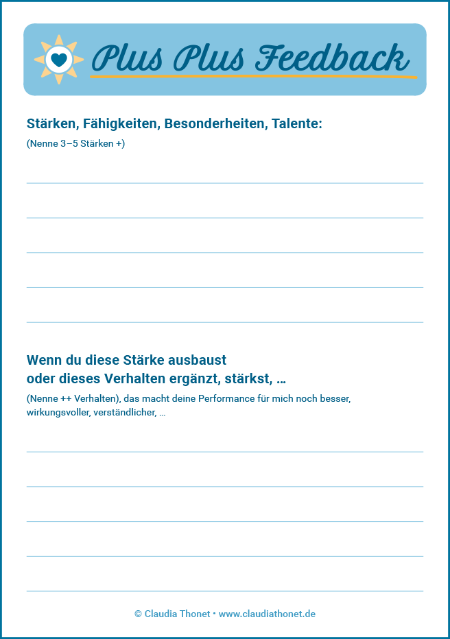 Plus Plus Feedback, Druckvorlage, Gratis-Download, Vorschaubild